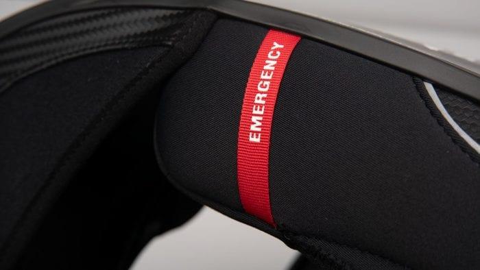Scorpion EXO R1 helmet emergency cheekpad release