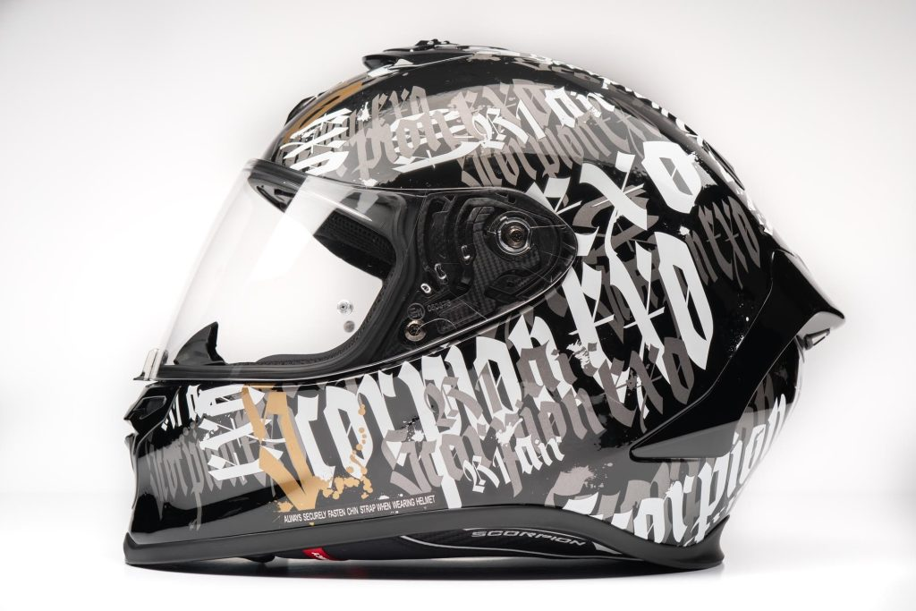 Side view of Scorpion EXO R1 helmet
