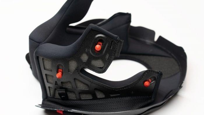 Scorpion EXO R1 removable helmet neck roll and cheekpad