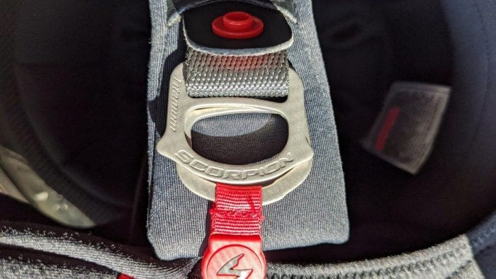 Close up of chin strap for Scorpion EXO R1 helmet