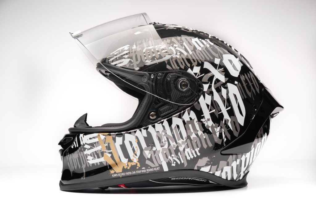 Side view of EXO-R1 Air visor in the fully opened position