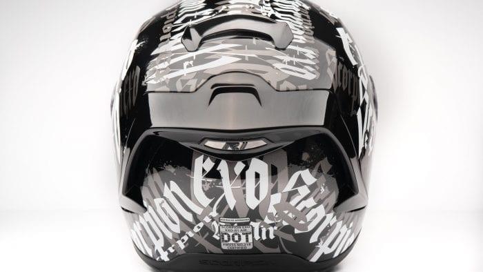 Rear view of Scorpion EXO R1 helmet