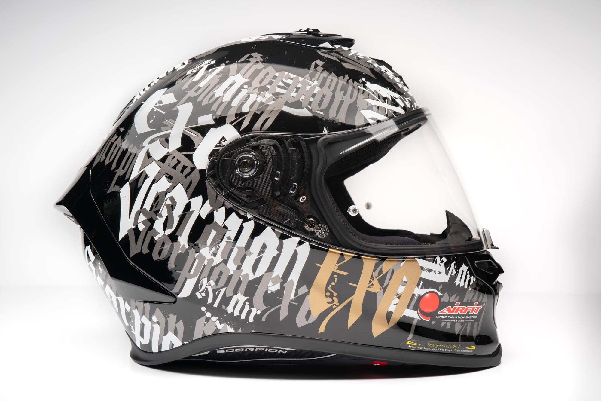 Side view of Scorpion EXO R1 helmet with decals
