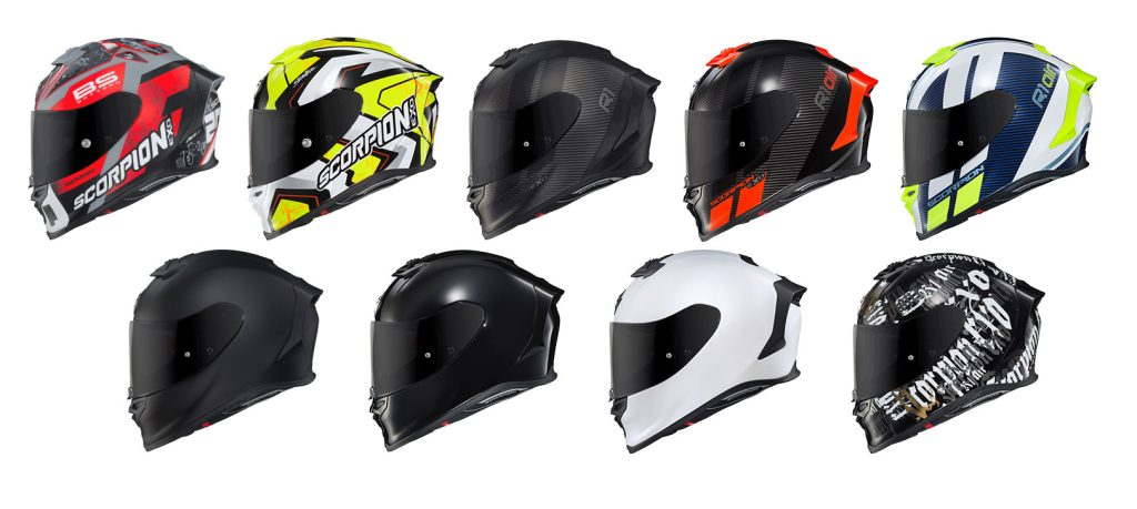 Colours available for Scorpion EXO R1 helmet