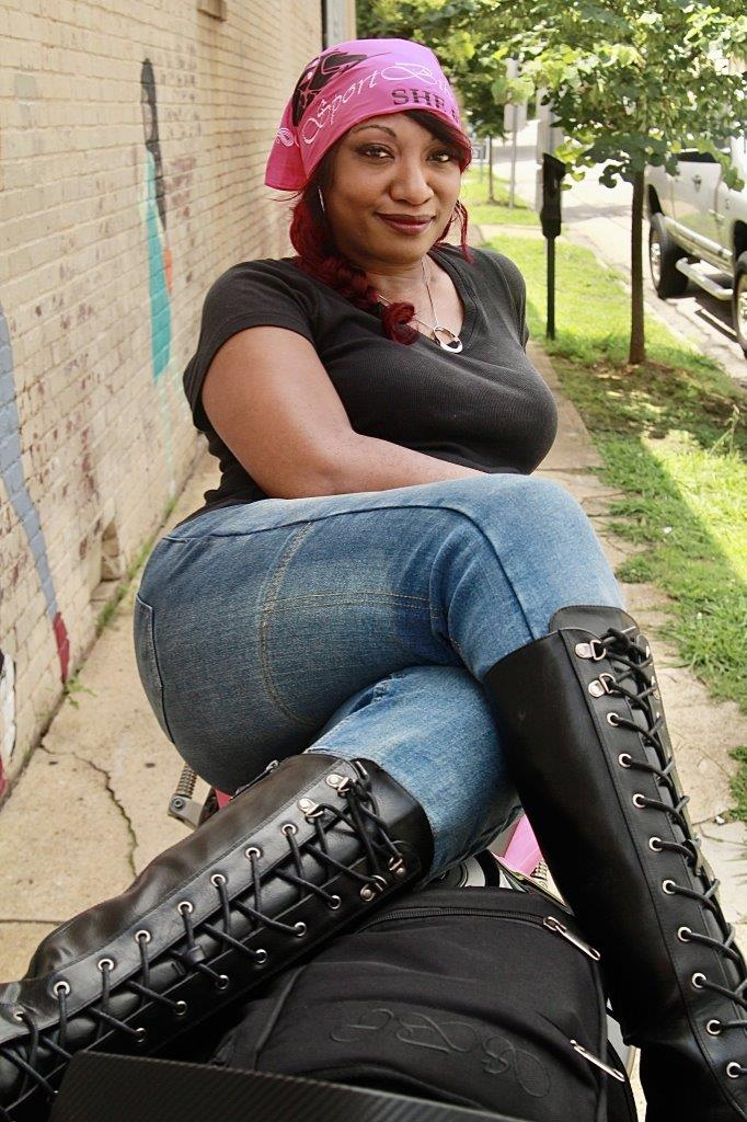 Female rider wearing SportbikeChic Motorcycle Jeans