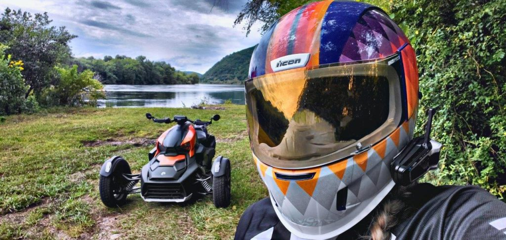 Rider taking selfie with Can-Am Ryker 900 Rally Edition
