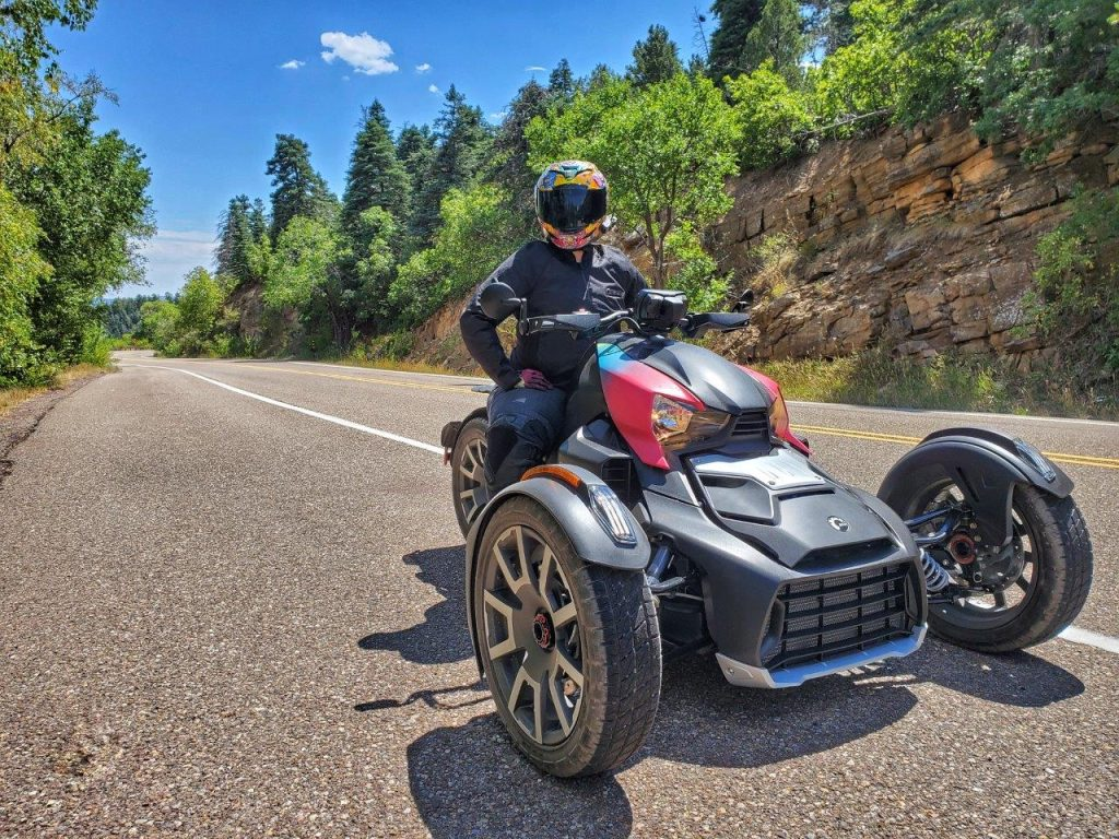Rider next to the side of highway on Can-Am Ryker 900 Rally Edition