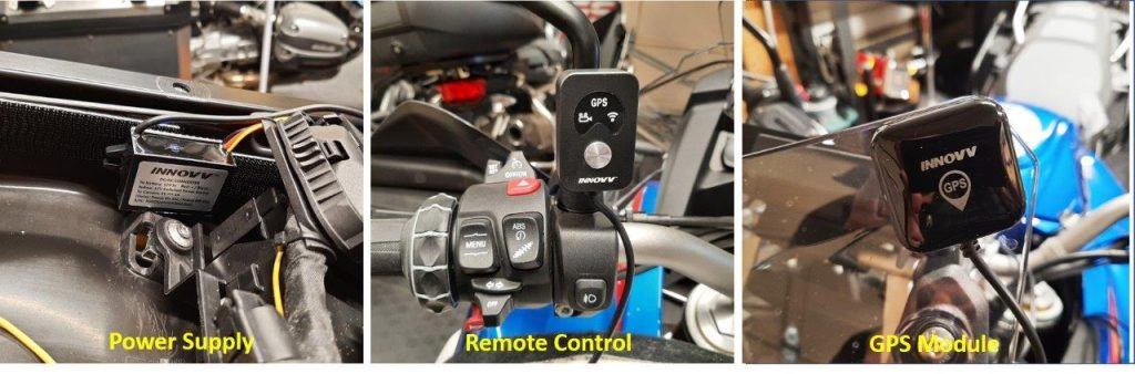 INNOVV camera power supply, remote control, and GPS module