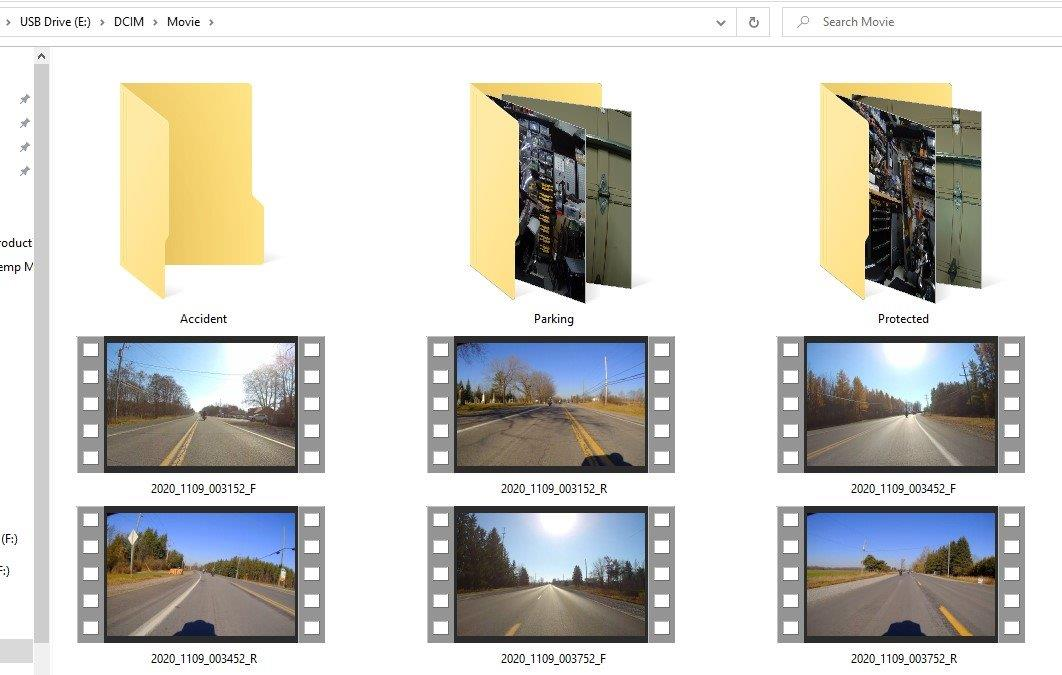 INNOVV camera connected to PC - folder view