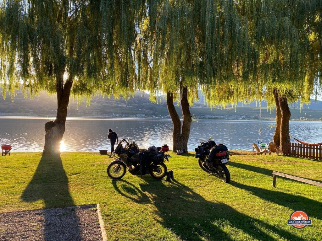 Motorcycle camping beside Swan Lake in Vernon, British Columbia, Canada.