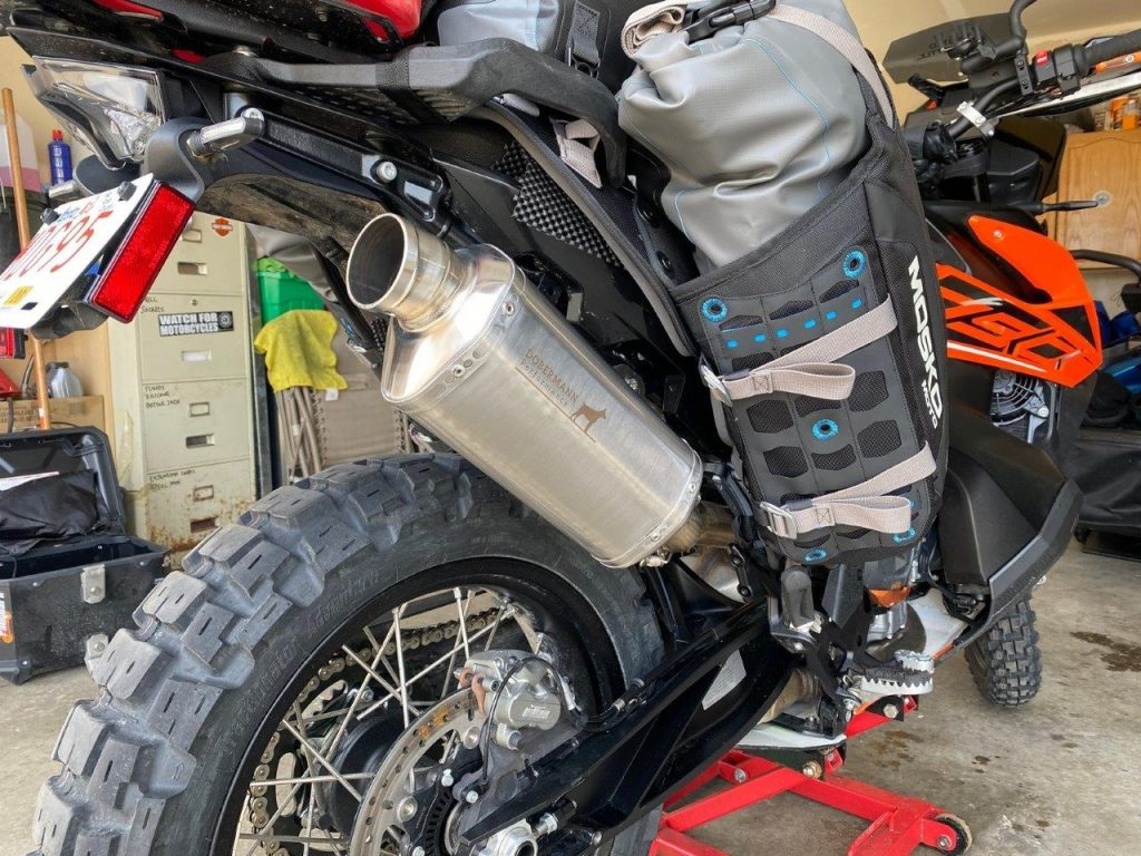 Mosko Moto Reckless 80L V3.0 Revolver luggage installed on a KTM 790 Adventure.