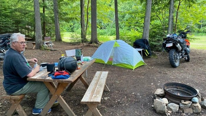 A typical motorcycle campsite.