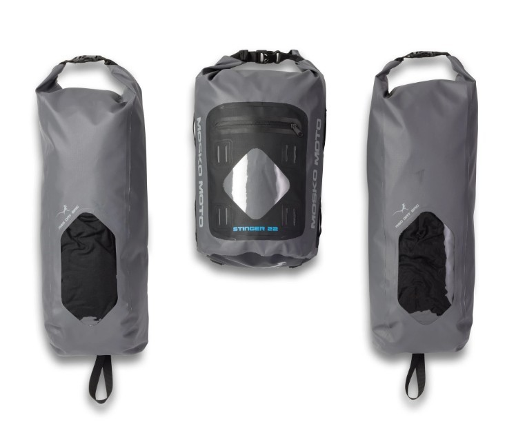 The dry bags from the Mosko Moto Reckless 80L v3.0 Revolver luggage system.
