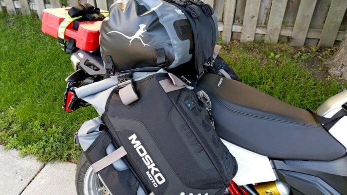 The Mosko Moto Reckless 80L v3.0 Revolver luggage installed on a BMW F900XR.