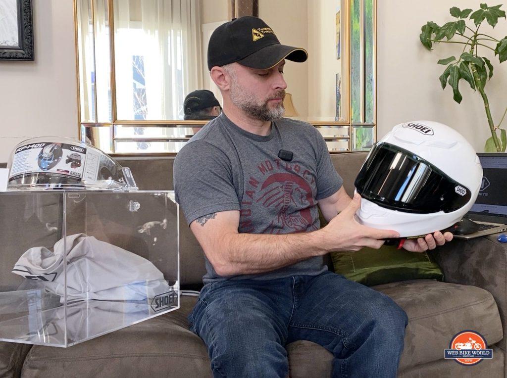 Me holding the brand new Shoei RF-1400 helmet.