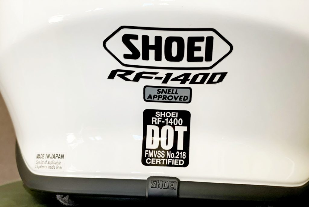 The Shoei RF-1400 is Snell M2020D and DOT certified.