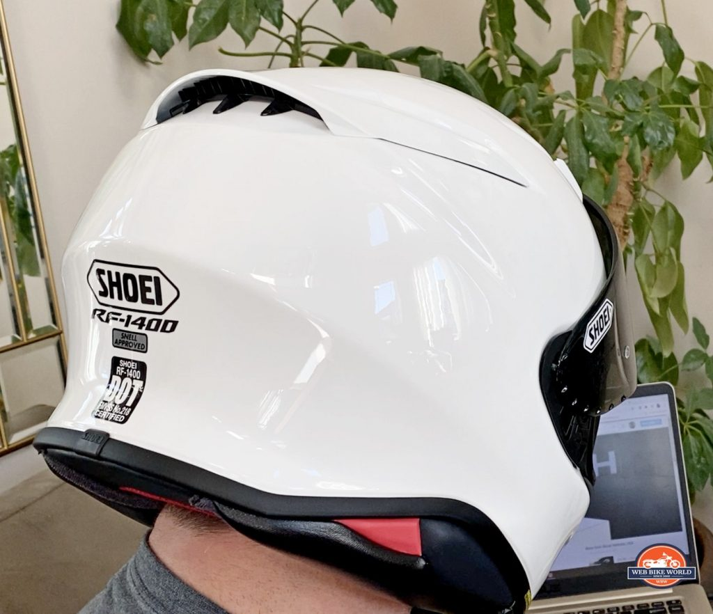 The rear view of the new Shoei RF-1400 helmet.