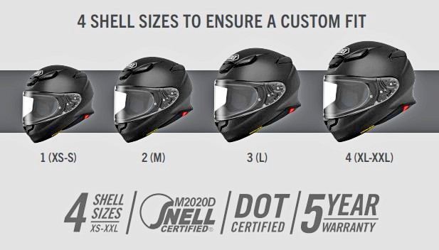 The 4 shell sizes Shoei offers on the RF-1400 helmet.