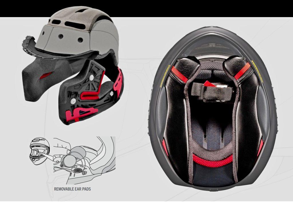 Interior liner diagram for RF-1400 helmet
