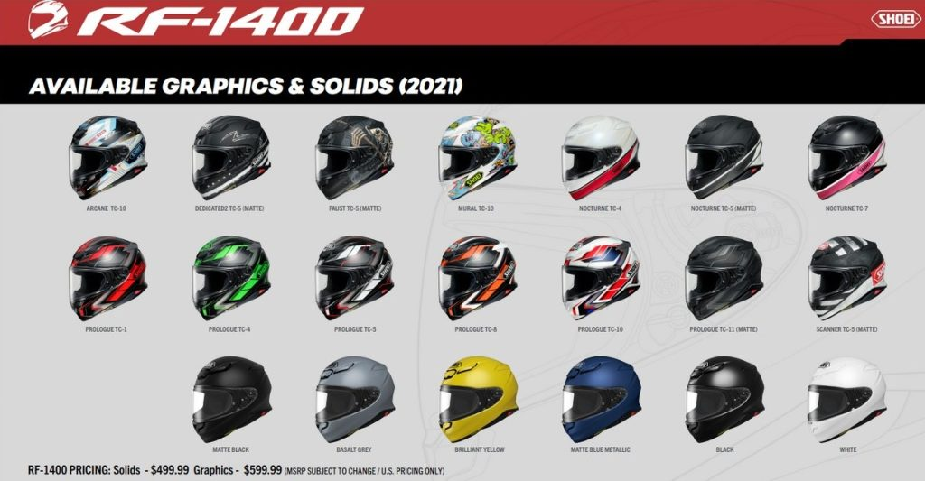 The different color schemes available for the Shoei RF-1400 helmet.
