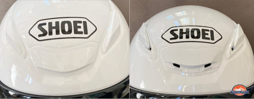 The upper vent in the open and closed positions on the Shoei RF-1400 helmet.