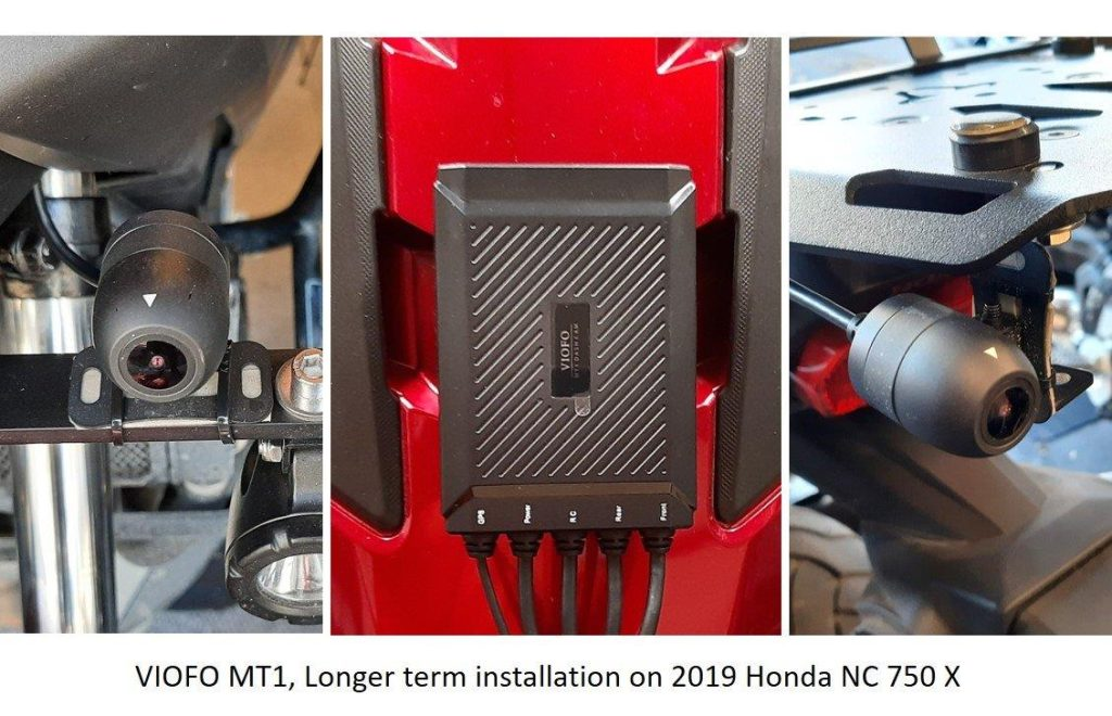 VIOFO MT1 camera mounted on a 2019 Honda NC 750 X