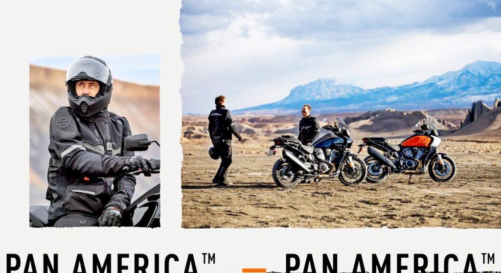 The Harley Davidson Pan America riding gear.