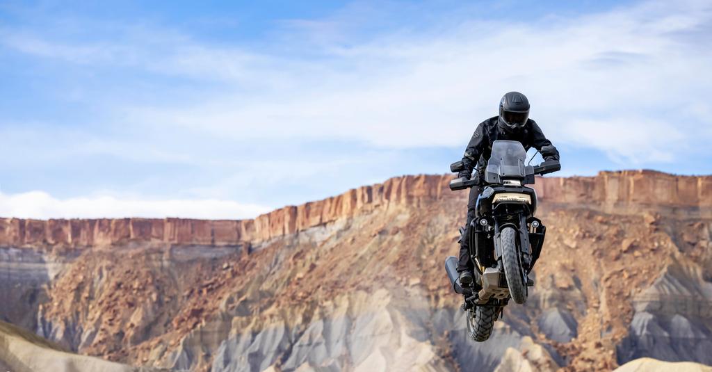 The Harley Davidson Pan America getting air.