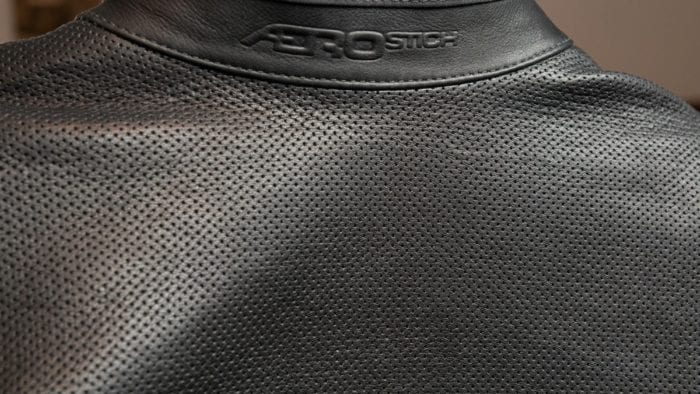 Rear closeup view of leather perforations on the Transit 3.0 suit