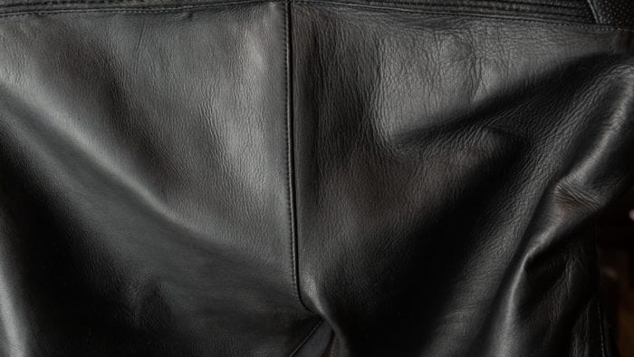 Closeup of cow hide leather used on the Aerostich 3.0 Transit suit