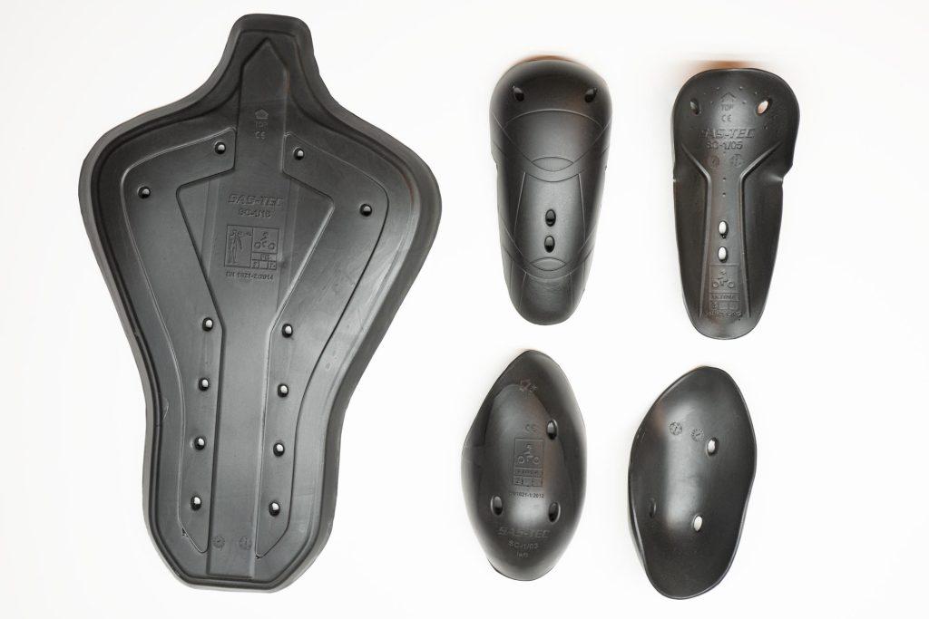 Detachable armour pieces for the Aerostich 3.0 Transit suit