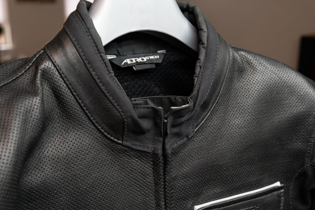 Closeup of neck material on the Aerostich jacket