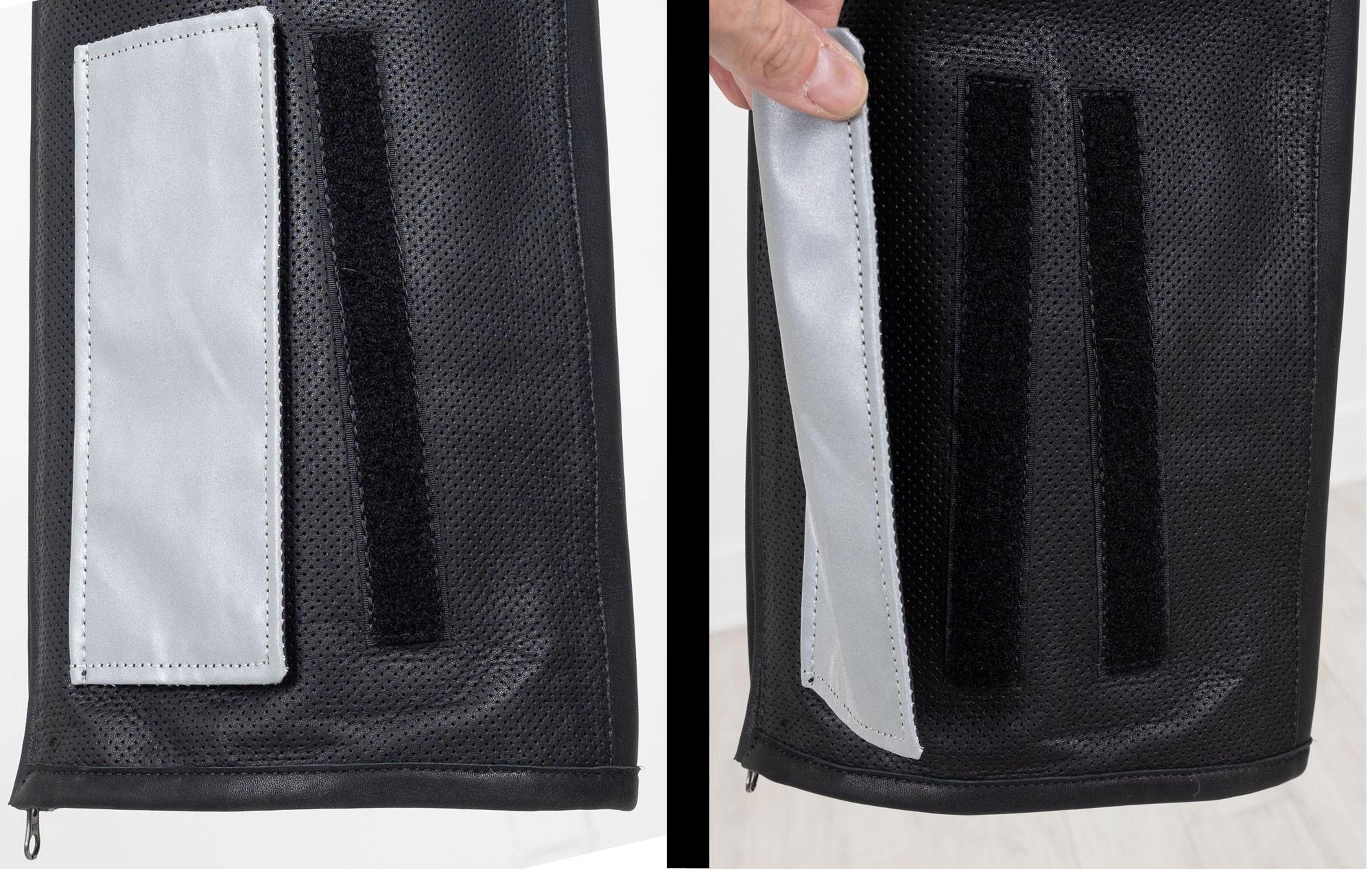 Adjustable leg openings and loop fasteners