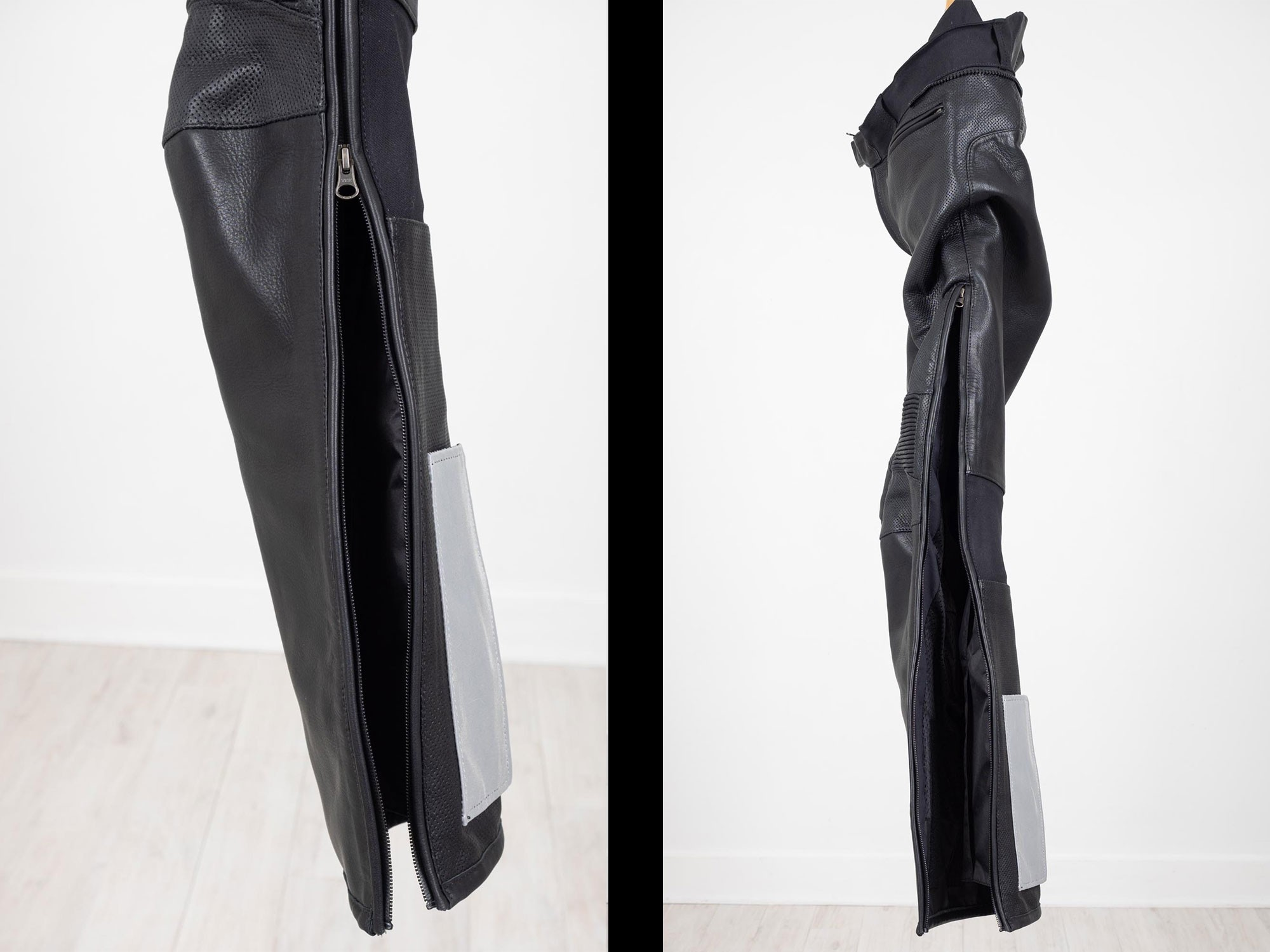 Side view of the Aerostich leg zipper