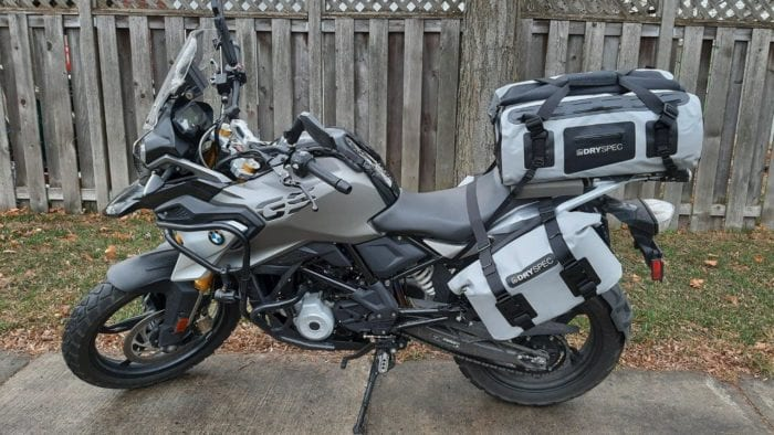 DrySpec D78 bags mounted on motorcycle