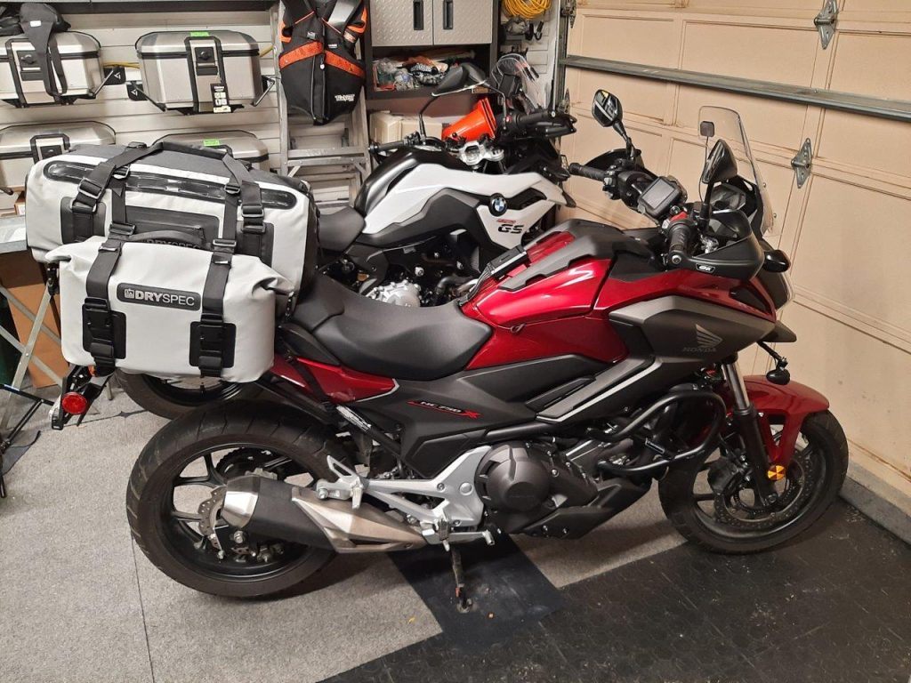 DrySpec D78 bags mounted on Honda motorcycle