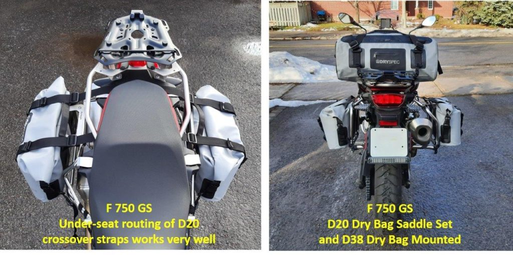 Various angles of D78 bags on motorcycle