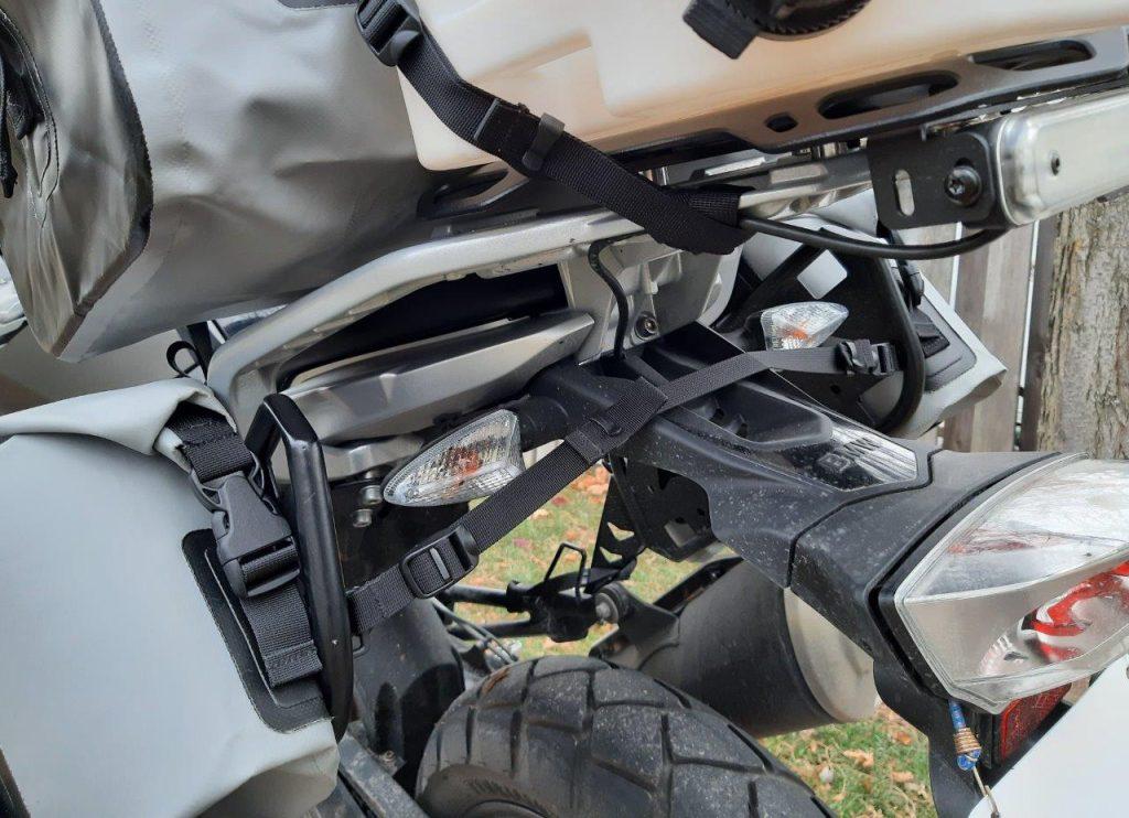 Closeup of D78 bag mounted to rear of bike