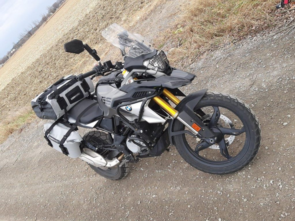 Outdoor photo of D78 bag mounted on BMW bike