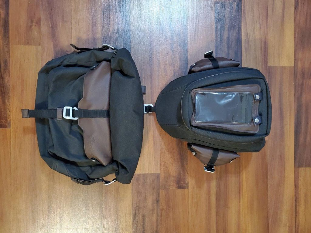 Indian FTR 1200 S all-weather vinyl messenger bag and tank bag from the Indian Tour Accessory Package