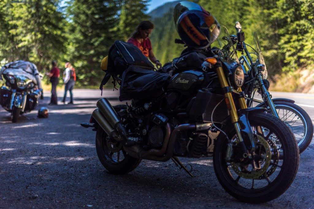 Indian FTR 1200 S with Touring Accessory package parked on Lolo Pass in Idaho