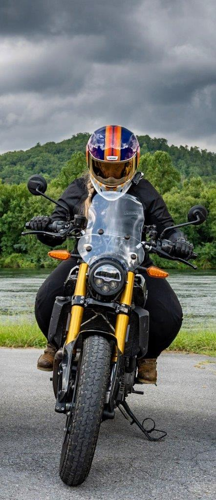 Front view of the Indian FTR 1200 S with Touring Accessory package -