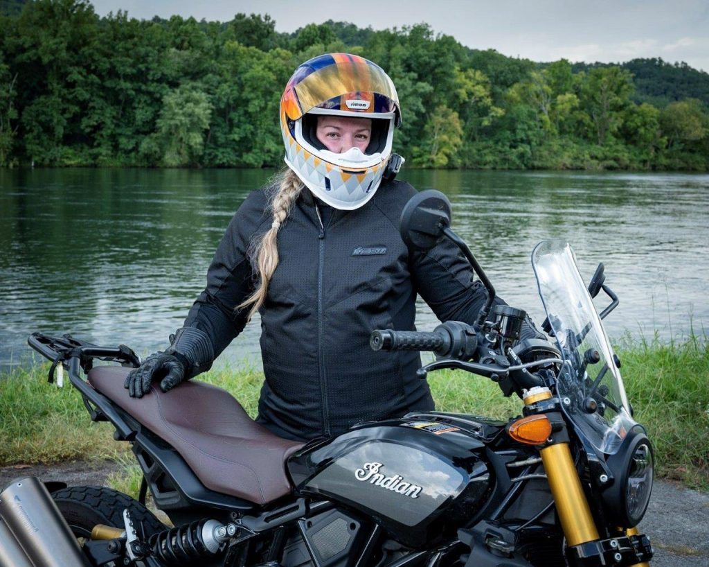 Indian FTR 1200 S by a lake in North Carolina