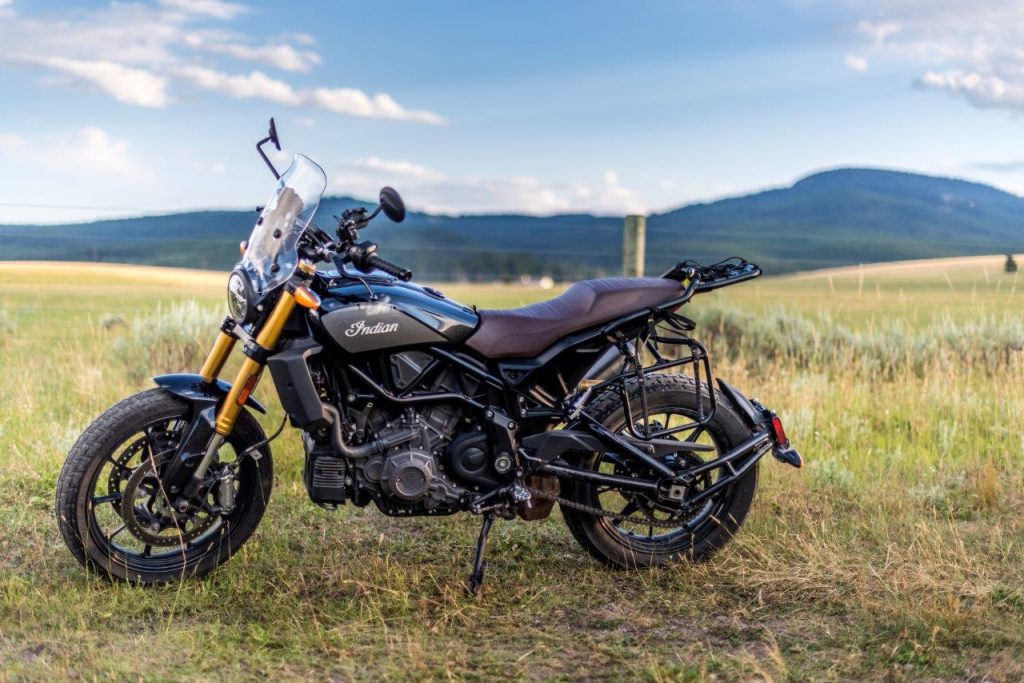 Indian FTR 1200 S with Tour Accessory Package parked in Yellowstone National Park