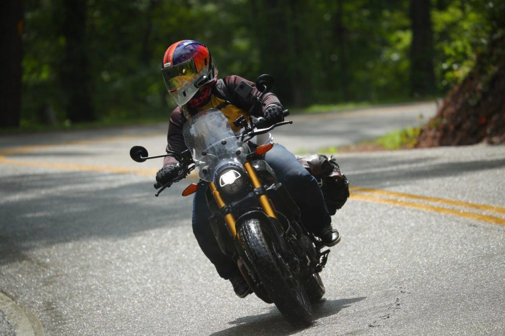 Indian FTR 1200 S with Touring Accessory package on a wet US129 the Tail of the Dragon