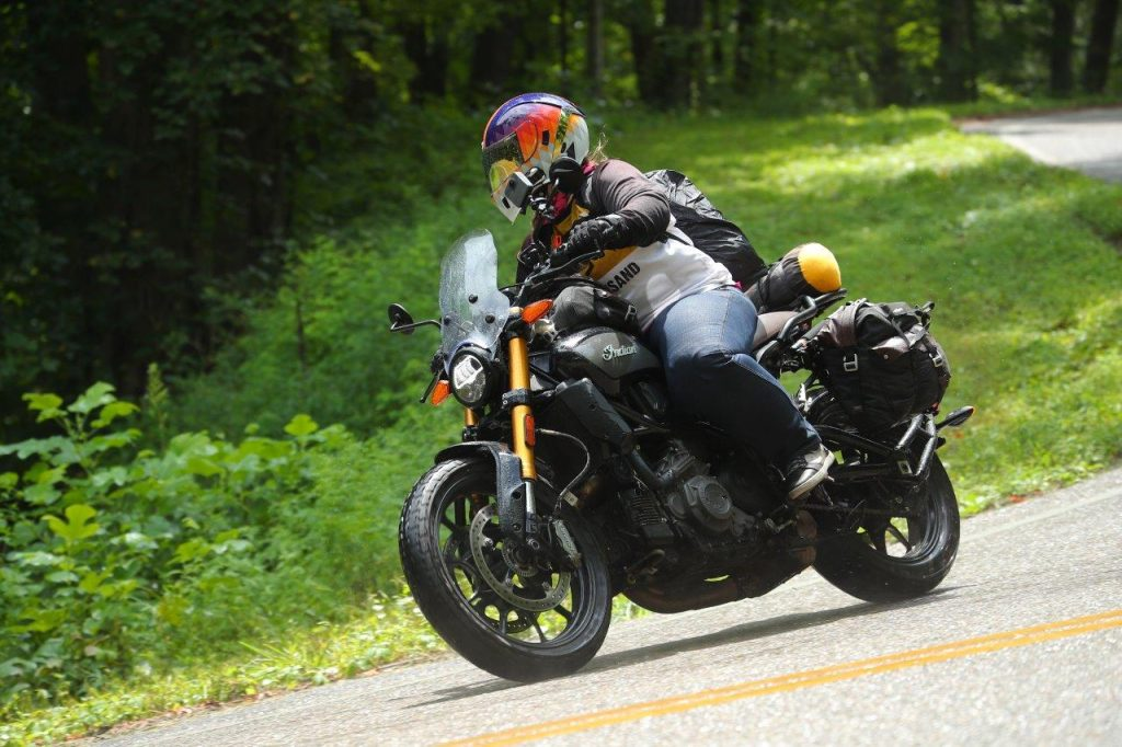 Indian FTR 1200 S with Tour Accessory Package through Great Smokey Mountain National Park