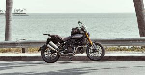 Indian FTR 1200 S with Tour Accessory Package Parked by the Ocean