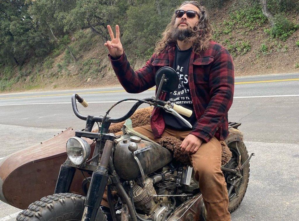 Jason Momoa on his hand-built Harley Davidson.