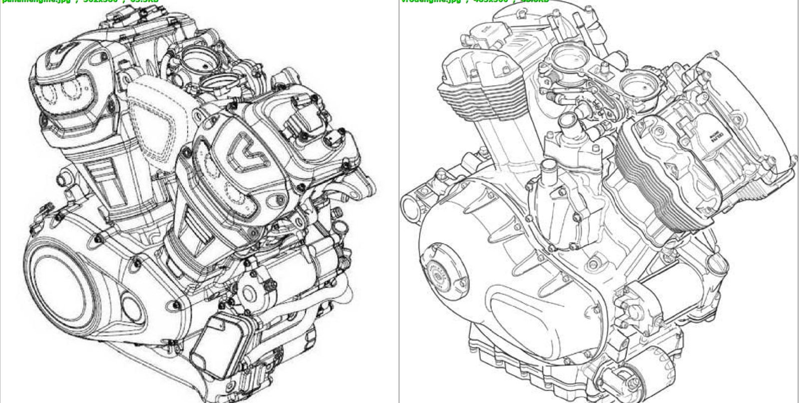 The Revolution Max and Revolution Harley Davidson engines side by side.