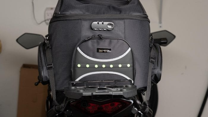 Rear view of the 70025 bag mounted on the Ninja 1000.